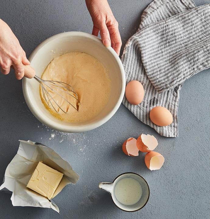 Gently mix yolk mixture into dry ingredients until they just come together – small lumps are totally fine, even encouraged. You want as little agitation as possible to keep them light and fluffy.