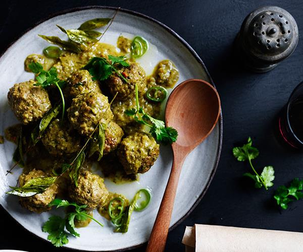 "**[Lamb curry kofte with ginger pilaf and curry-leaf oil](https://www.gourmettraveller.com.au/recipes/browse-all/lamb-curry-kofte-with-ginger-pilaf-and-curry-leaf-oil-12230|target=""_blank"")**"