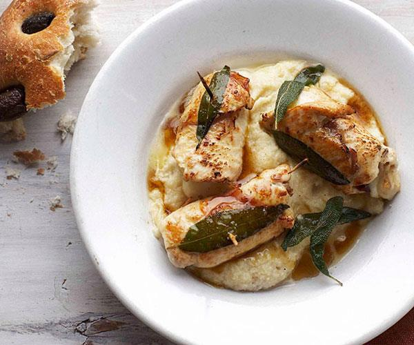"**[Chicken involtini with white polenta](https://www.gourmettraveller.com.au/recipes/fast-recipes/chicken-involtini-with-white-polenta-13108|target=""_blank"")**"