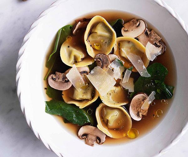 "**[Chicken brodo with mushroom and mascarpone tortellini](https://www.gourmettraveller.com.au/recipes/browse-all/chicken-brodo-with-mushroom-and-mascarpone-tortellini-10756|target=""_blank"")**"