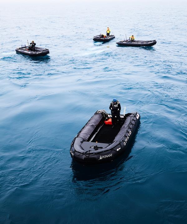 *Le Soléal*'s expedition team prepares Zodiacs.