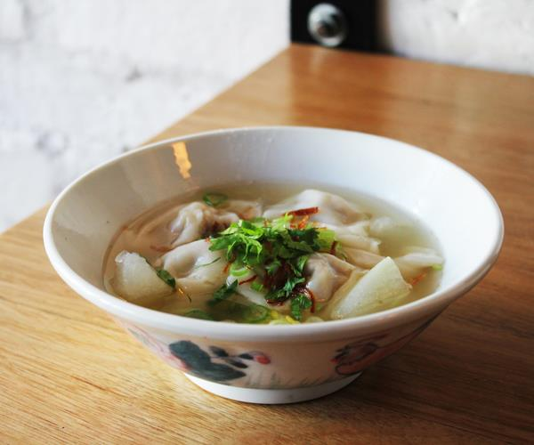 Pork and scallop wonton soup.