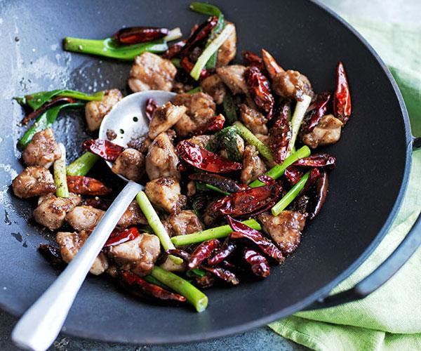 "**[Stir-fried chicken with Sichuan pepper and chilli](https://www.gourmettraveller.com.au/recipes/browse-all/stir-fried-chicken-with-sichuan-pepper-and-chilli-12453|target=""_blank"")**"