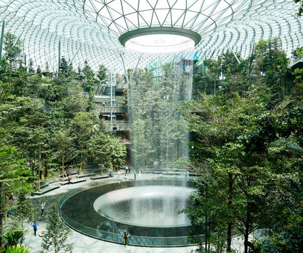 The indoor waterfall at Changi Airport.