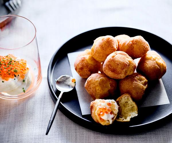 "**[Cutler & Co's savoury doughnuts with sour cream and salmon roe](https://www.gourmettraveller.com.au/recipes/chefs-recipes/savoury-doughnuts-sour-cream-17574|target=""_blank"")**"