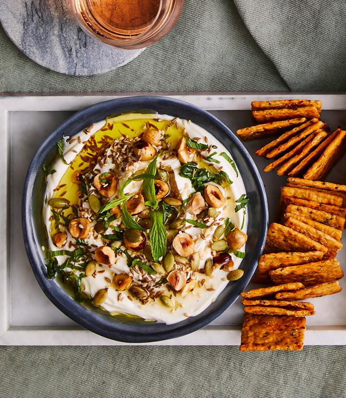 "**[Yoghurt dip with sesame seeds, pepitas, cumin, caraway and mint](https://www.gourmettraveller.com.au/recipes/healthy-recipes/yoghurt-dip-with-sesame-seeds-pepitas-cumin-caraway-and-mint-12914|target=""_blank"")**"