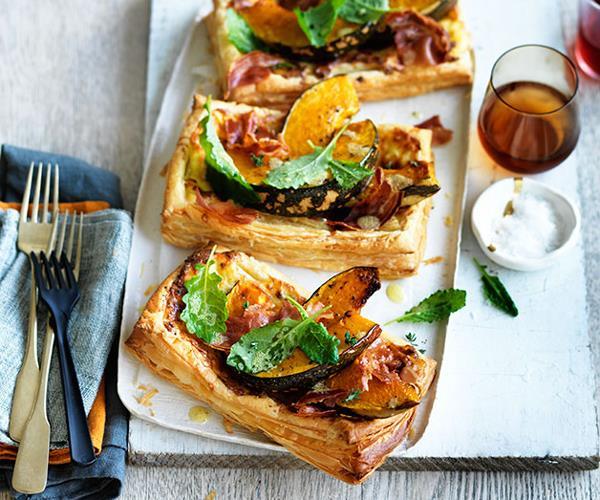 "**[Roast pumpkin, pancetta and Gruyère tarts](https://www.gourmettraveller.com.au/recipes/fast-recipes/roast-pumpkin-pancetta-and-gruyere-tarts-13735|target=""_blank"")**"