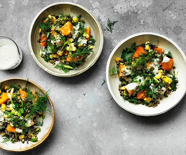 "**[Caramelised pumpkin, corn and lentil bowl](https://www.gourmettraveller.com.au/recipes/browse-all/caramelised-pumpkin-corn-and-lentil-bowl-12725|target=""_blank"")**"