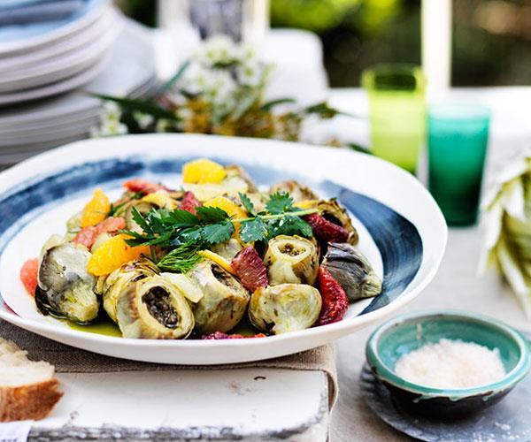 """**[Mike McEnearney's baked artichokes with citrus and herb salad](https://www.gourmettraveller.com.au/recipes/chefs-recipes/baked-artichokes-with-citrus-and-herb-salad-8167