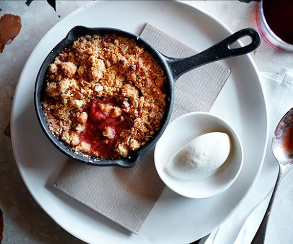 "**[Monster's rhubarb, strawberry and pink peppercorn crumble with chamomile ice-cream](https://www.gourmettraveller.com.au/recipes/chefs-recipes/rhubarb-strawberry-and-pink-peppercorn-crumble-with-chamomile-ice-cream-8292|target=""_blank"")**"