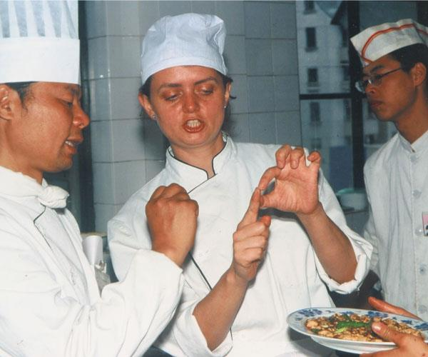 Dunlop at the Sichuan Higher Institute of Cuisine in 2001.