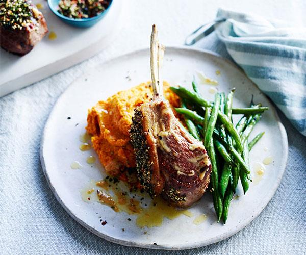 "**[Furikake lamb rack with carrot-ginger puree](https://www.gourmettraveller.com.au/recipes/fast-recipes/furikake-lamb-rack-with-carrot-ginger-puree-13835|target=""_blank"")**"