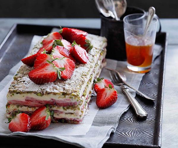 "**[Strawberry, yoghurt and pistachio layer cake](https://www.gourmettraveller.com.au/recipes/browse-all/strawberry-yoghurt-and-pistachio-layer-cake-10373|target=""_blank"")**"