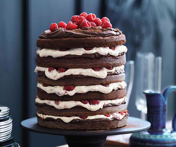 "**[Chocolate raspberry layer cake](https://www.gourmettraveller.com.au/recipes/browse-all/chocolate-raspberry-layer-cake-10656|target=""_blank"")**"