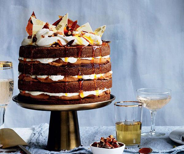 Ginger whiskey cake with burnt white chocolate ganache