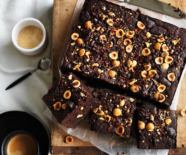 "**[Spiced hazelnut-cacao brownie](https://www.gourmettraveller.com.au/recipes/browse-all/spiced-hazelnut-cacao-brownie-12025|target=""_blank"")**"