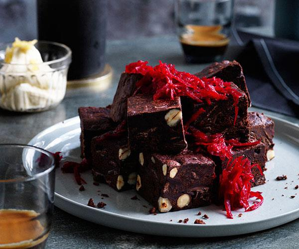 "**[Colin Fassnidge's beetroot brownies with ginger crème fraîche](https://www.gourmettraveller.com.au/recipes/chefs-recipes/beetroot-brownies-with-ginger-creme-fraiche-7954|target=""_blank"")**"