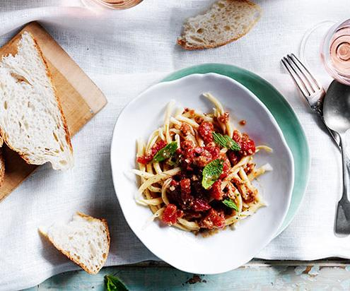 """**[Handmade busiate with pesto Trapanese](https://www.gourmettraveller.com.au/recipes/browse-all/handmade-busiate-with-pesto-trapanese-13990 target=""""_blank"""")**"""