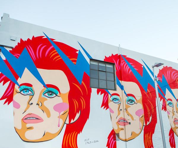 Xoë Hall's mural of David Bowie on Ghuznee Street.