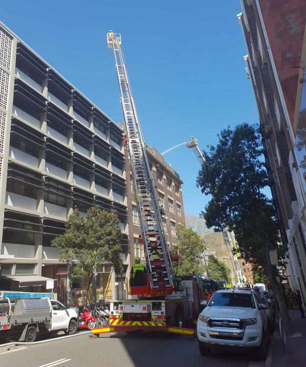 Fire crew respond to a blaze at Sydney's Nomad restaurant.