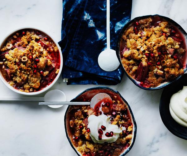 "**[Rhubarb, pomegranate and hazelnut crumble](https://www.gourmettraveller.com.au/recipes/browse-all/rhubarb-pomegranate-and-hazelnut-crumble-12524|target=""_blank"")**"