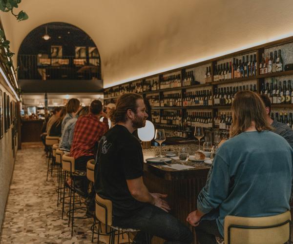 The terrazzo bar area.