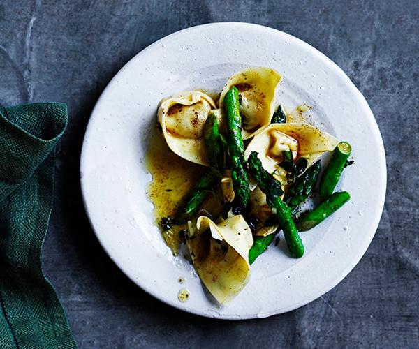 """**[Prosciutto and parmesan cappellacci with brown butter and asparagus](https://www.gourmettraveller.com.au/recipes/browse-all/prosciutto-and-parmesan-cappellacci-with-brown-butter-and-asparagus-12898