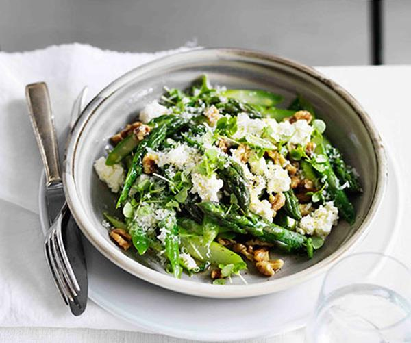 """**[Warm asparagus salad with walnuts, Parmesan, lemon and olive oil](https://www.gourmettraveller.com.au/recipes/browse-all/warm-asparagus-salad-with-walnuts-parmesan-lemon-and-olive-oil-11612