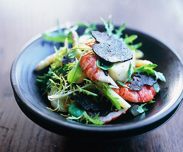 "**[Marron, truffle and asparagus salad](https://www.gourmettraveller.com.au/recipes/browse-all/marron-truffle-and-asparagus-salad-9706|target=""_blank"")**"