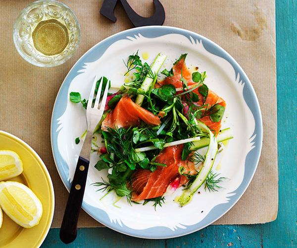 """**[David Moyle's smoked trout, asparagus and radish salad](https://www.gourmettraveller.com.au/recipes/chefs-recipes/smoked-trout-asparagus-and-radish-salad-9048