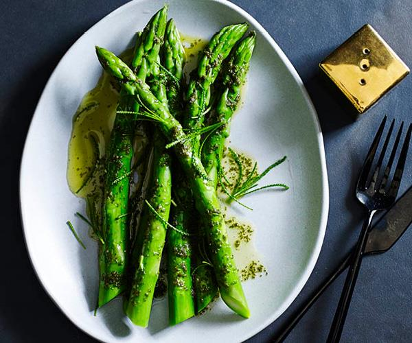 """**[Brae's asparagus and olive herb in sea butter](https://www.gourmettraveller.com.au/recipes/chefs-recipes/asparagus-and-olive-herb-in-sea-butter-8263