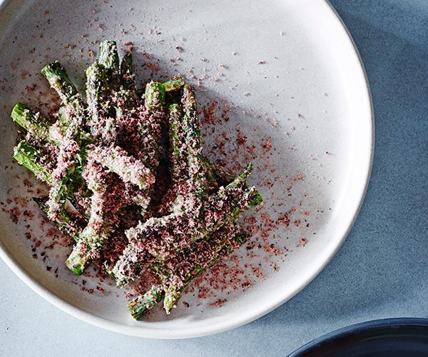 """**[Thi Le's asparagus with fermented beancurd, olives and ginger dressing](https://www.gourmettraveller.com.au/recipes/chefs-recipes/asparagus-with-fermented-beancurd-olives-and-ginger-dressing-8463
