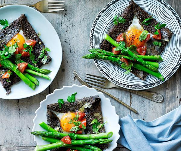 """[**Buckwheat crêpes with egg and asparagus**](https://www.gourmettraveller.com.au/recipes/browse-all/buckwheat-crepes-with-egg-and-asparagus-12359