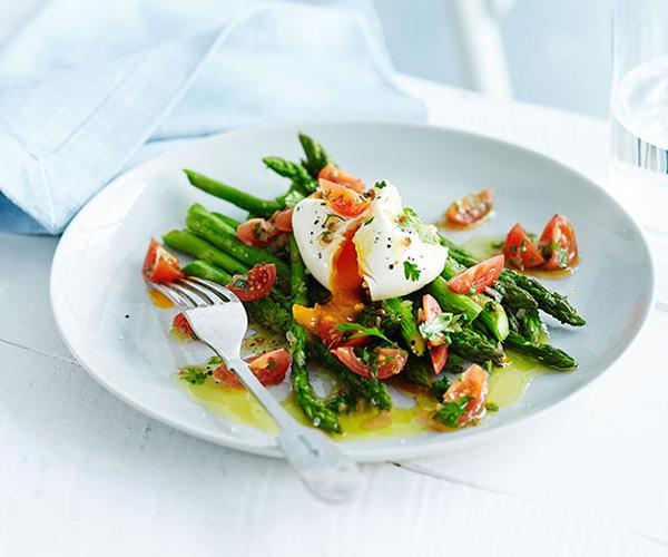 """[**Roast asparagus with poached egg and sauce vierge**](https://www.gourmettraveller.com.au/recipes/fast-recipes/roast-asparagus-with-poached-egg-and-sauce-vierge-13405