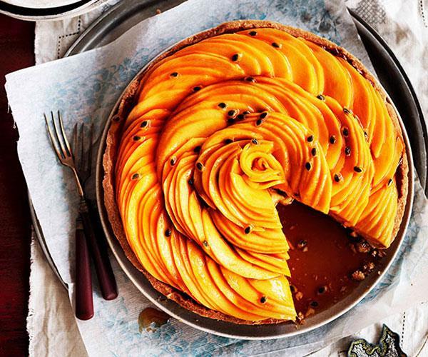 "**[Golden mango and passionfruit caramel tart](https://www.gourmettraveller.com.au/recipes/browse-all/golden-mango-and-passionfruit-caramel-tart-10892|target=""_blank"")**"