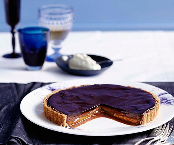 """**[Chocolate and caramel tart](https://www.gourmettraveller.com.au/recipes/browse-all/chocolate-and-caramel-tart-10099