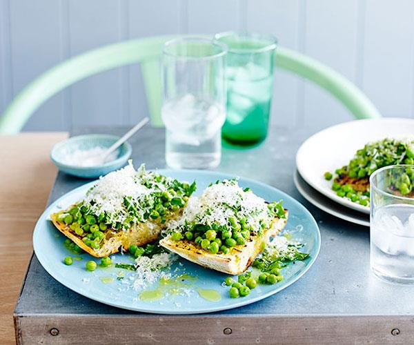 "**[Smashed peas with mint, lemon and pecorino on bruschetta](https://www.gourmettraveller.com.au/recipes/fast-recipes/smashed-peas-with-mint-lemon-and-pecorino-on-bruschetta-13533|target=""_blank"")**"