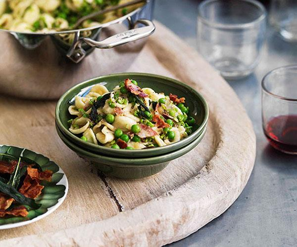 "**[Crushed pea orecchiette with pancetta and sage](https://www.gourmettraveller.com.au/recipes/browse-all/crushed-pea-orecchiette-with-pancetta-and-sage-10757|target=""_blank"")**"