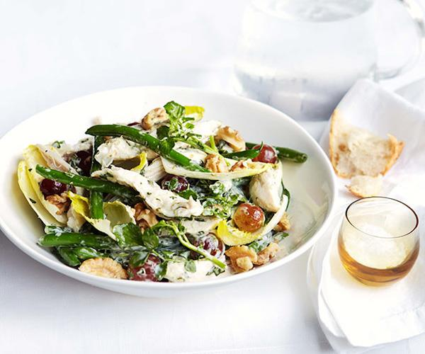 "**[Poached chicken, green bean and basil mayonnaise salad](https://www.gourmettraveller.com.au/recipes/fast-recipes/poached-chicken-green-bean-and-basil-mayonnaise-salad-13252|target=""_blank"")**"