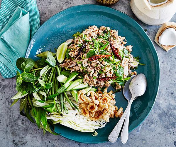 "**[Chat Thai's larb gai](https://www.gourmettraveller.com.au/recipes/browse-all/larb-gai-14230|target=""_blank"")**"