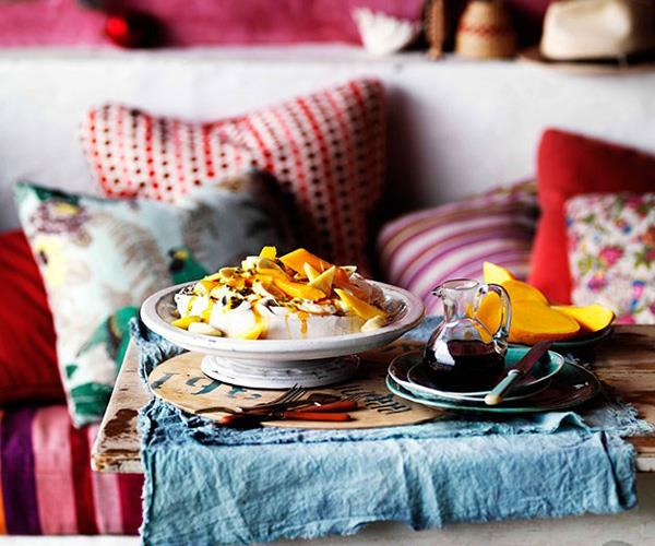 "[**Golden pavlova with mango yoghurt and tropical fruits**](https://www.gourmettraveller.com.au/recipes/browse-all/golden-pavlova-with-mango-yoghurt-and-tropical-fruits-10922|target=""_blank"")"