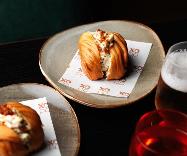 Prawn mantou roll with XO mayonnaise and XO sauce.