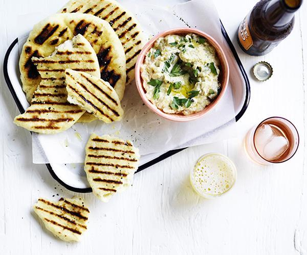 "**[Smoky eggplant dip with charred bread](https://www.gourmettraveller.com.au/recipes/browse-all/smoky-eggplant-dip-with-charred-bread-15828|target=""_blank"")**"