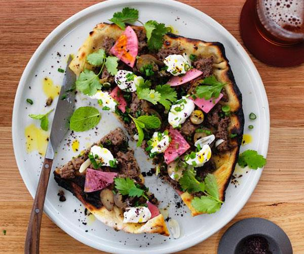 "**[Turkish flatbread with beef and yoghurt](https://www.gourmettraveller.com.au/recipes/browse-all/turkish-flatbread-with-beef-and-yoghurt-12853|target=""_blank"")**"