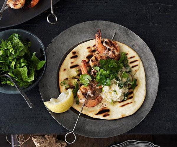 "**[Barbecued sumac prawns with yoghurt flatbread](https://www.gourmettraveller.com.au/recipes/browse-all/barbecued-sumac-prawns-with-yoghurt-flatbread-11826|target=""_blank"")**"