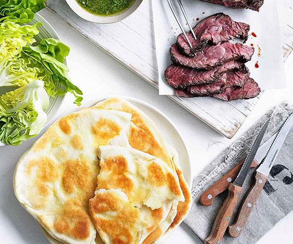 "**[Hanger steak with chimichurri and yoghurt flatbread](https://www.gourmettraveller.com.au/recipes/fast-recipes/hanger-steak-with-chimichurri-and-yoghurt-flatbread-13150|target=""_blank"")**"