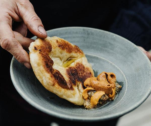 "**[Analiese Gregory's flatbread with miso eggplant and urchin](https://www.gourmettraveller.com.au/recipes/chefs-recipes/flatbread-miso-eggplant-sea-urchin-17486|target=""_blank"")**"