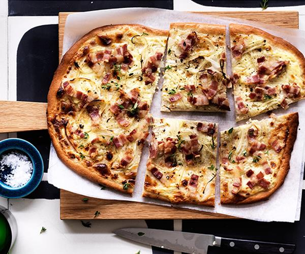 "**[Tarte flambée](http://www.gourmettraveller.com.au/recipes/browse-all/tarte-flambee-12762|target=""_blank"")**"
