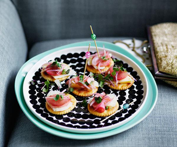 "**[Crackers with cheddar and radish pickles](https://www.gourmettraveller.com.au/recipes/browse-all/crackers-with-cheddar-and-pickles-12625|target=""_blank"")**"