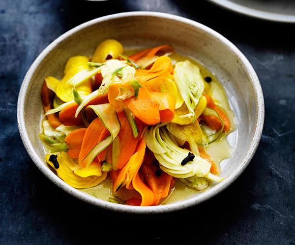 "**[Quick pickled root vegetables](https://www.gourmettraveller.com.au/recipes/browse-all/quick-pickled-root-vegetables-11410|target=""_blank"")**"